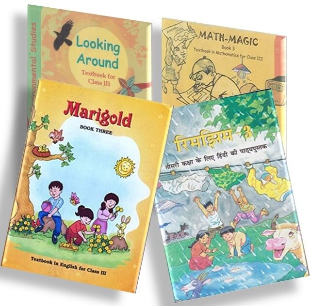 NCERT TEXTBOOK COMBO PACK OF CLASS 3 (MARIGOLD, MATH-MAGIC, LOOKING AROUND & RHIMJHIM)