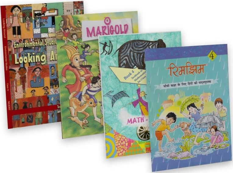 NCERT TEXTBOOK COMBO PACK OF CLASS 4 (MARIGOLD, MATH-MAGIC, LOOKING AROUND & RHIMJHIM)