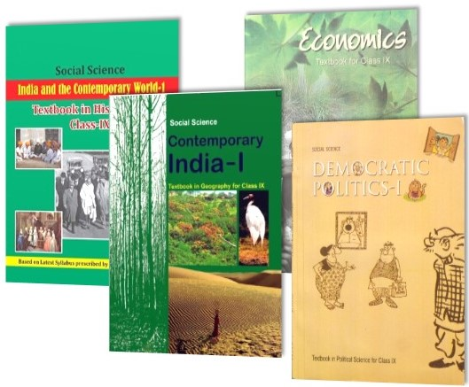 SOCIAL SCIENCE TEXTBOOK SET OF 4 BOOKS FOR CLASS 9TH (CONTEMPORARY INDIA - I,DEMOCRATIC POLITICS - 1,INDIA AND THE CONTEMPORARY WORLD - I & ECONOMICS)