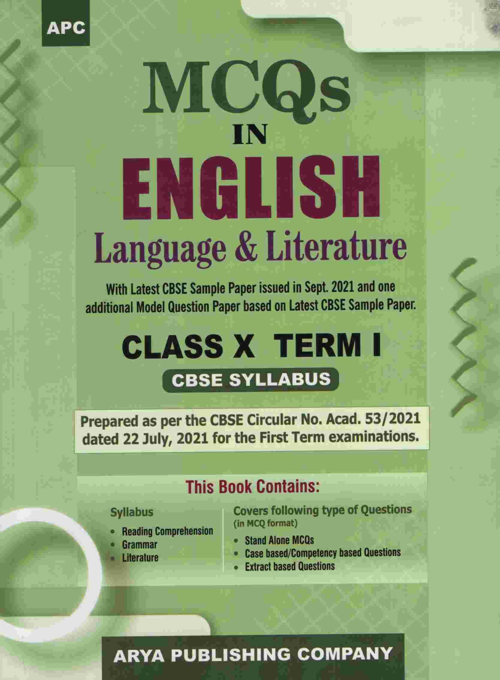 MCQS IN ENGLISH LANUAGE & LITERATURE CLASS 10 TERM I