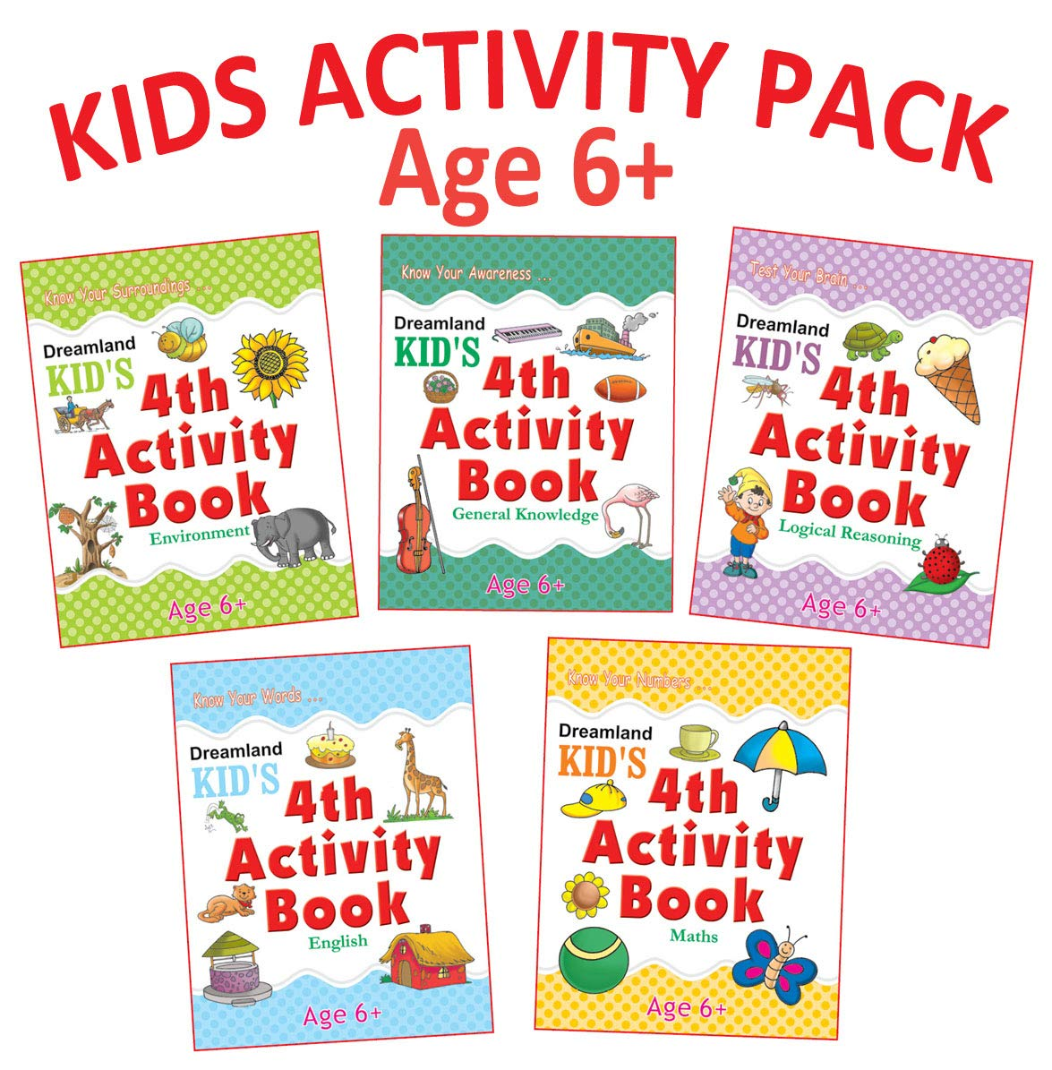 Kid's 4th Activity - Pack (5 Titles- English, Maths, Environment, General Awareness, Logic Reasoning)