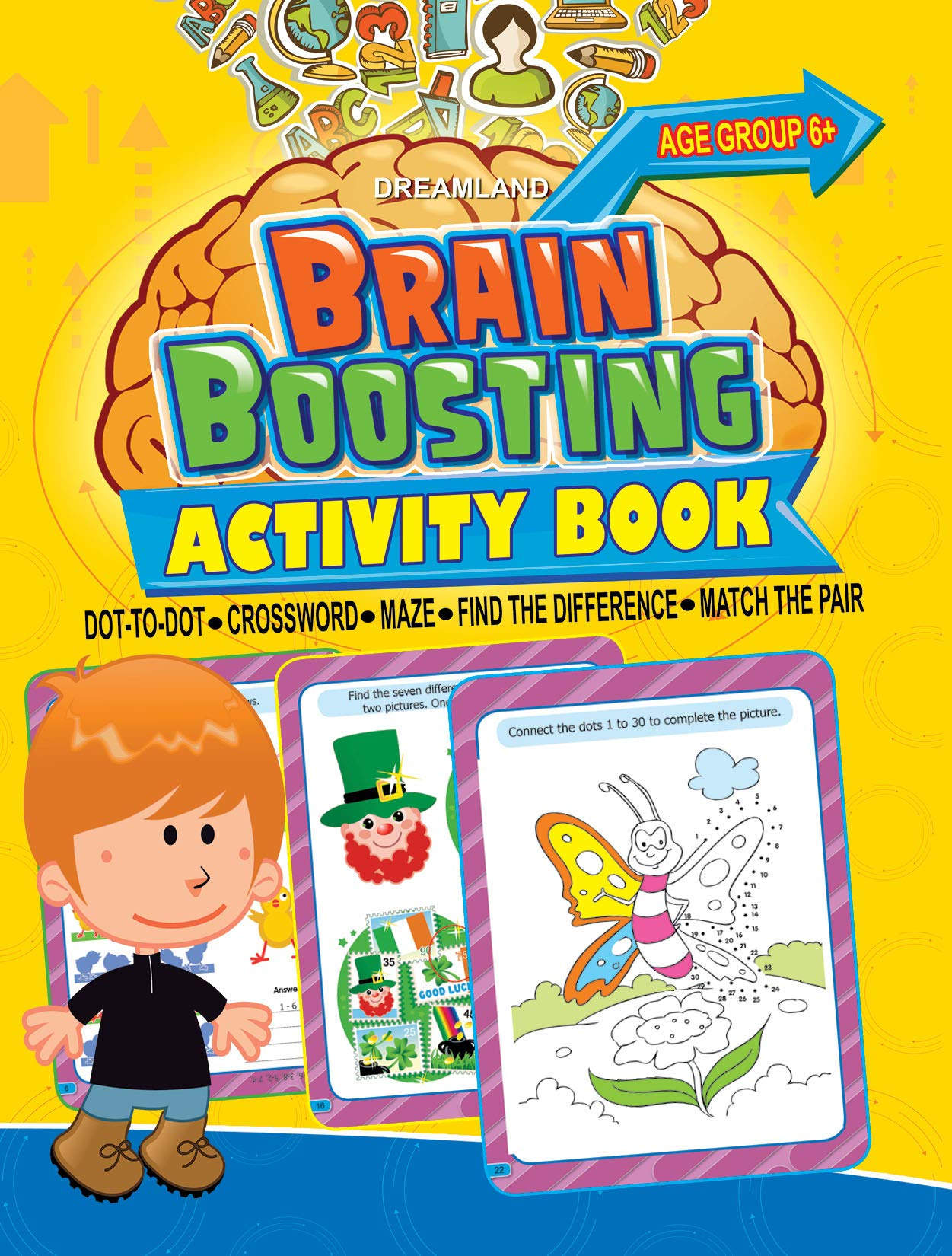 Brain Boosting Activity Book (Match the Pair, Find the Difference, Maze, Crossword, Dot-to-Dot)