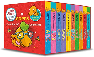GOPI'S FIRST BOX OF LEARNING: BASED ON GOPI THE DOG, FROM SUDHA MURTY'S GOPI DIARIES! BOXSET OF 10 EARLY LEARNING BOARD BOOKS FOR CHILDREN