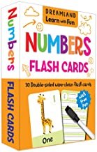 FLASH CARDS NUMBERS  - 30 DOUBLE SIDED WIPE CLEAN FLASH CARDS FOR KIDS (WITH FREE PEN)
