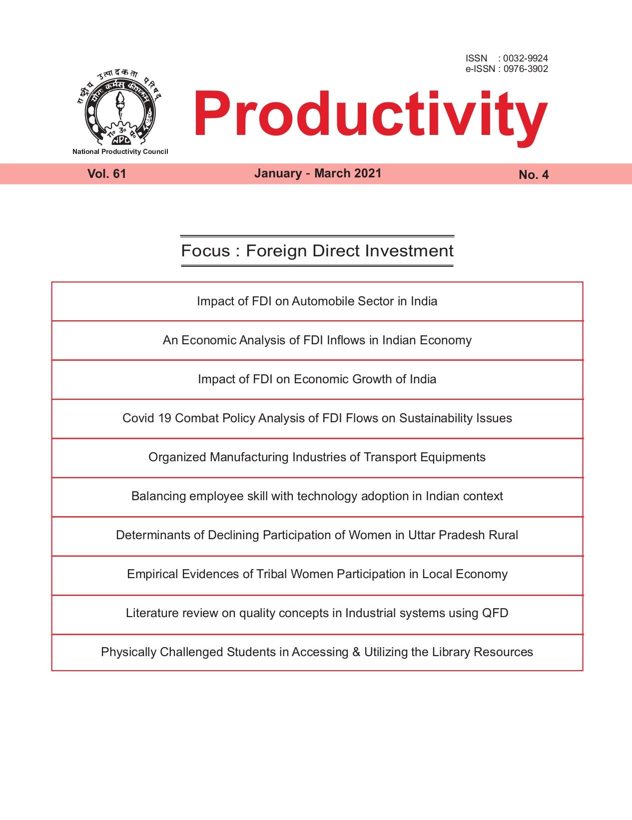 Productivity : A Quarterly Journal of The National Productivity Council - Quarterly - Volume: 61 (2020-21)