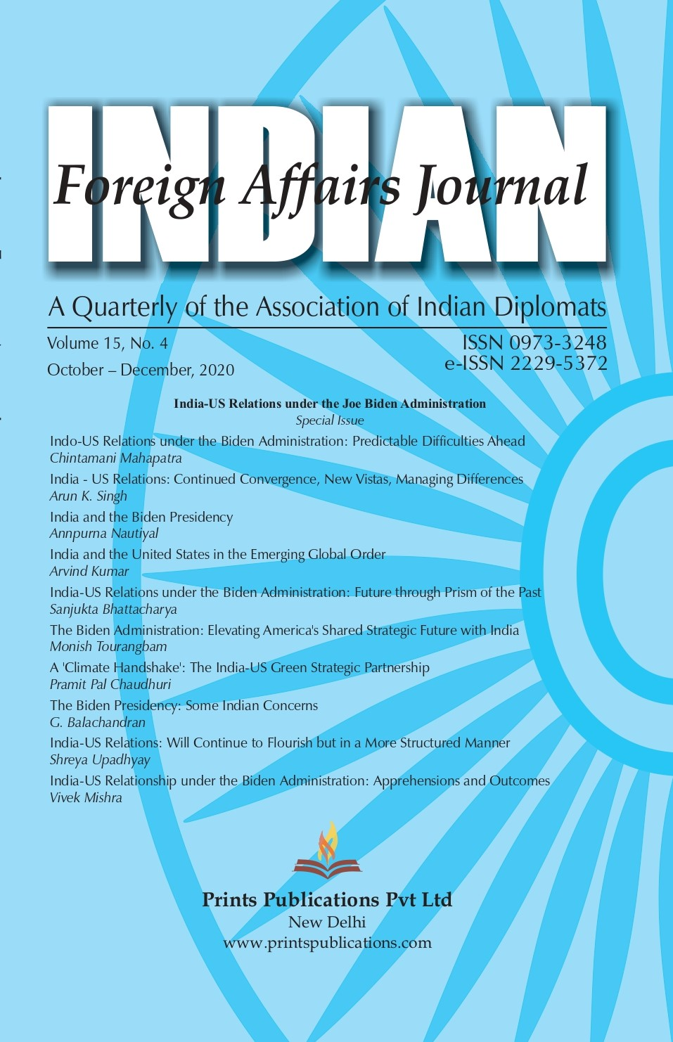 Indian Foreign Affairs Journal - Quarterly Volume: 15 (2020)